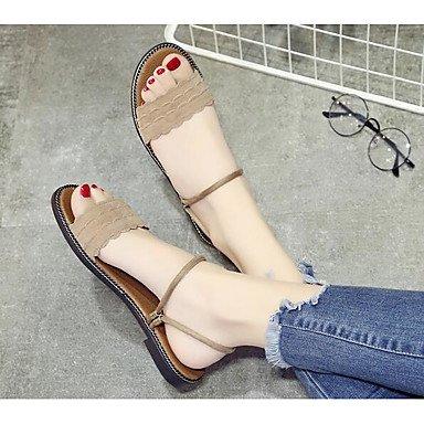 RTRY Sandalias De Mujer Invierno Pu Flocado Confort Confort Informal Caqui Negro De 2A-2 3/4 Pulg. US7.5 / EU38 / UK5.5 / CN38