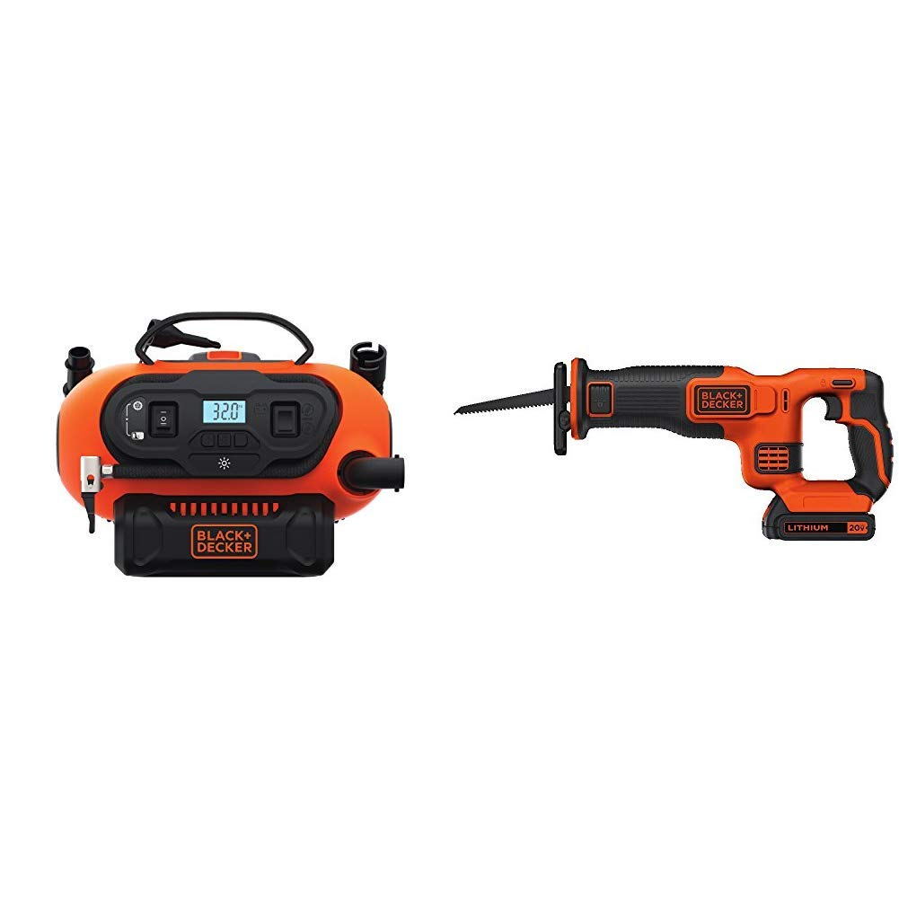 BLACK DECKER BDINF20C 20V Lithium Cordless Multi-Purpose Inflator Tool Only with BLACK DECKER BDCR20C 20V MAX Reciprocating Saw with Battery and Charger