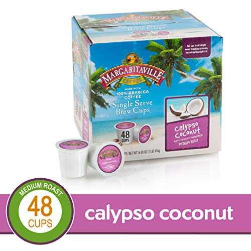 Calyspo Coconut for K-Cup Keurig 2.0 Brewers, 48 Count, Margaritaville Coffee Medium Roast Single Serve Coffee Pods