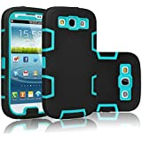Galaxy S3 Case, Tekcoo(TM) [Troyal Series] [Black/Blue] Hybrid Shock Absorbing Shock Dust Dirt Proof Defender Rugged Full Body Hard Case Cover Shell For Samsung Galaxy S3 S III I9300 GS3 All Carriers