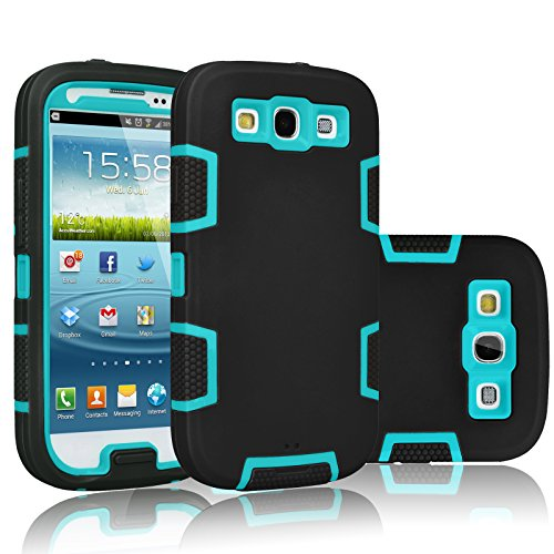 Galaxy S3 Case, Tekcoo(TM) [Troyal Series] [Black/Blue] Hybrid Shock Absorbing Shock Dust Dirt Proof Defender Rugged Full Body Hard Case Cover Shell For Samsung Galaxy S3 S III I9300 GS3 All Carriers (Cases Mini S3)