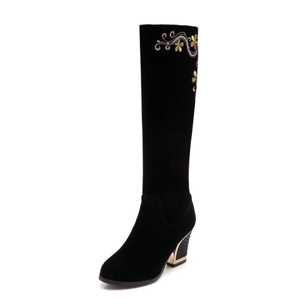 CXQ-Stiefel QIN&X Ferse Frauen Runder Block Ferse QIN&X Fersen lange Stiefel Schuhe  schwarz 1adc41