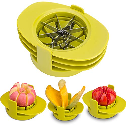 SameTech Easy Kitchen Tool 4-in-1 Fruit Mango Peeler Splitter Pitter Remover Apple Pear Corer Cutter Tomato slicer ()