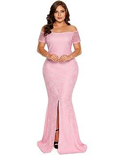 21e4c55db7ad2 FUSENFENG Women s Plus Size Evening Gowns Lace Off Shoulder Wedding Party  Long Maxi Dress