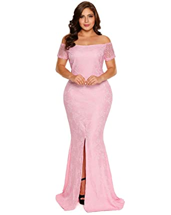 fd2eb163a4a6a FUSENFENG Womens Plus Size Evening Gowns Lace Off Shoulder Wedding Party  Long Maxi Dress