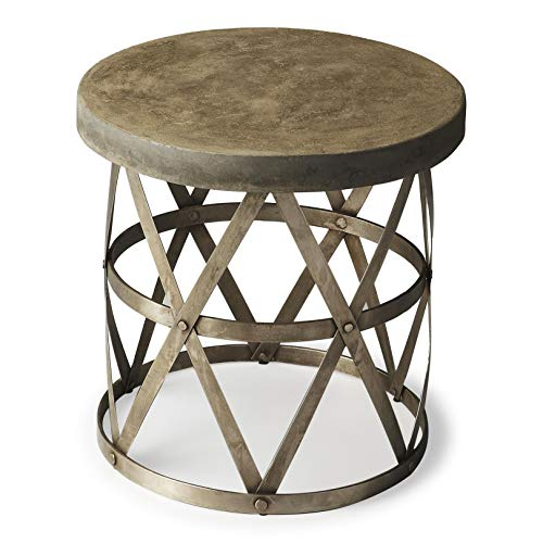 Butler Metalworks Gray Round Steel, Resin Dobson Industrial Chic Side Table -