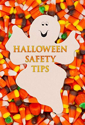 (AOFOTO 7x10ft Halloween Safety Tips Poster Hallowmas Holiday Celebration Backdrop Cute Ghost Orange Yellow Candy Corn Kids Children Trick or Treat Party Photography Background Photo Studio)