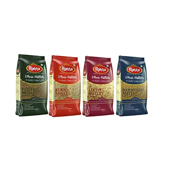 Manna Millets - Natural Grains Combo Pack of 4 | Foxtail 500g, Kodo 500g, Little 500g, Barnyard 500g | Nutrient Powerhouse, High Protein & 100% More Fibre Than Rice