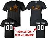 Wild Style King Queen Gold Pattern Customized Text Name Design Couple T Shirt Size Men L Women L