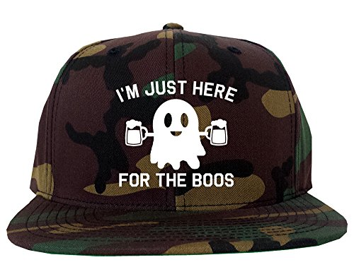 Kings Of NY Im Just Here for The Boos Halloween Mens Snapback Hat Army Camo