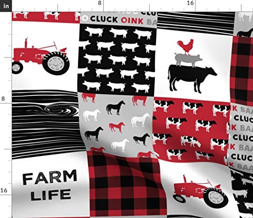 Farm Cheater Quilt Fabric - Country Cow Farm Life Farming Nursery Farm Blanket Patchwork Cow Tractor Print on Fabric by the Yard - Fleece for Sewing Blankets Loungewear and No-Sew Projects