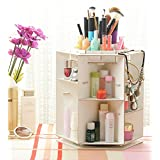 Rotating Makeup Organizer Storage DIY Wooden 360 Degree Cosmetic Jewelry Beauty Display Holder