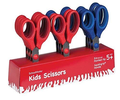 SchoolWorks 5 Inch Kids Scissors Pointed-tip Classpack, 2 Packs of 12-pack, (105580-1003)