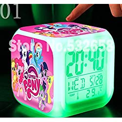 AThiToZone (arrive within 3-5 weeks). Princess Ponies Toys & Hobbies Little Horse Alarm Clock Digital Action Toy Figures Thermometer Night Colorful Glowing Toys (Style 1)