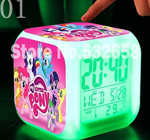 Princess Ponies Toys & Hobbies Little Horse Alarm Clock Digital Action Toy Figures Thermometer Night Colorful Glowing Toys (Style 1)