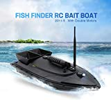 Auvem Remote Control Fishing Bait Boat, Fish Finder 1.5kg Loading 500m Fishing Tool Smart RC Boat Toy Wireless Smart Fishing Device Great Present Toy Beginners, Kids & Adults (Black)