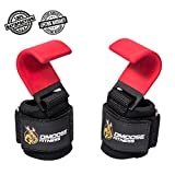 DMoose Fitness Weight Lifting Hooks Grip (Pair) – 8 mm Thick Padded Neoprene, Double Stitching, Non-Slip Resistant Coating – Secure Your Grip and Reach Your Goals with Premium Workout Hook Gloves