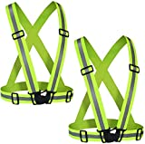 Reflective Vest (2 Pack) Adjustable Lightweight Elastic Safety High Visibility for Running Walking On foot Cycling Fits Over Outdoor Clothing Motorcycle Jacket Outdoor Gear(Green)