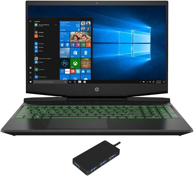 "HP Pavilion 15t-dk100 Gaming and Entertainment Laptop (Intel i7-10750H 6-Core, 64GB RAM, 1TB m.2 SATA SSD + 2TB HDD, NVIDIA GTX 1660 Ti Max-Q, 15.6"" Full HD (1920x1080), Win 10 Home) with USB Hub"