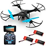 """Force1 Drone with Camera Live Video - """"U45W Blue Jay"""" WiFi FPV Drones with Camera for Adults and Kids + 3 RC Drone Batteries and Camera Drone Power Bank (Certified Refurbished)"""