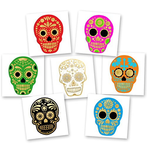 SUGAR SKULLS DE COLORES VARIETY PACK Flash Tattoos set of 30 assorted premium waterproof colorful metallic gold and silver jewelry temporary foil party tattoos - party (Sugar Skull Flash)