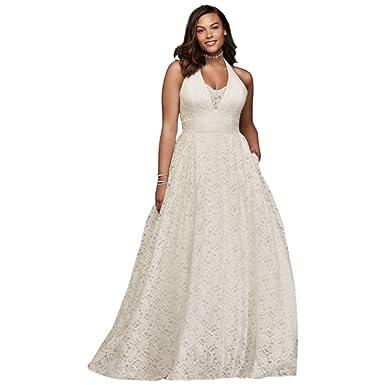 David\'s Bridal Plunging Lace Halter Plus Size Wedding Dress Style ...