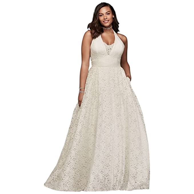 Plunging Lace Halter Plus Size Wedding Dress Style 9WG3844