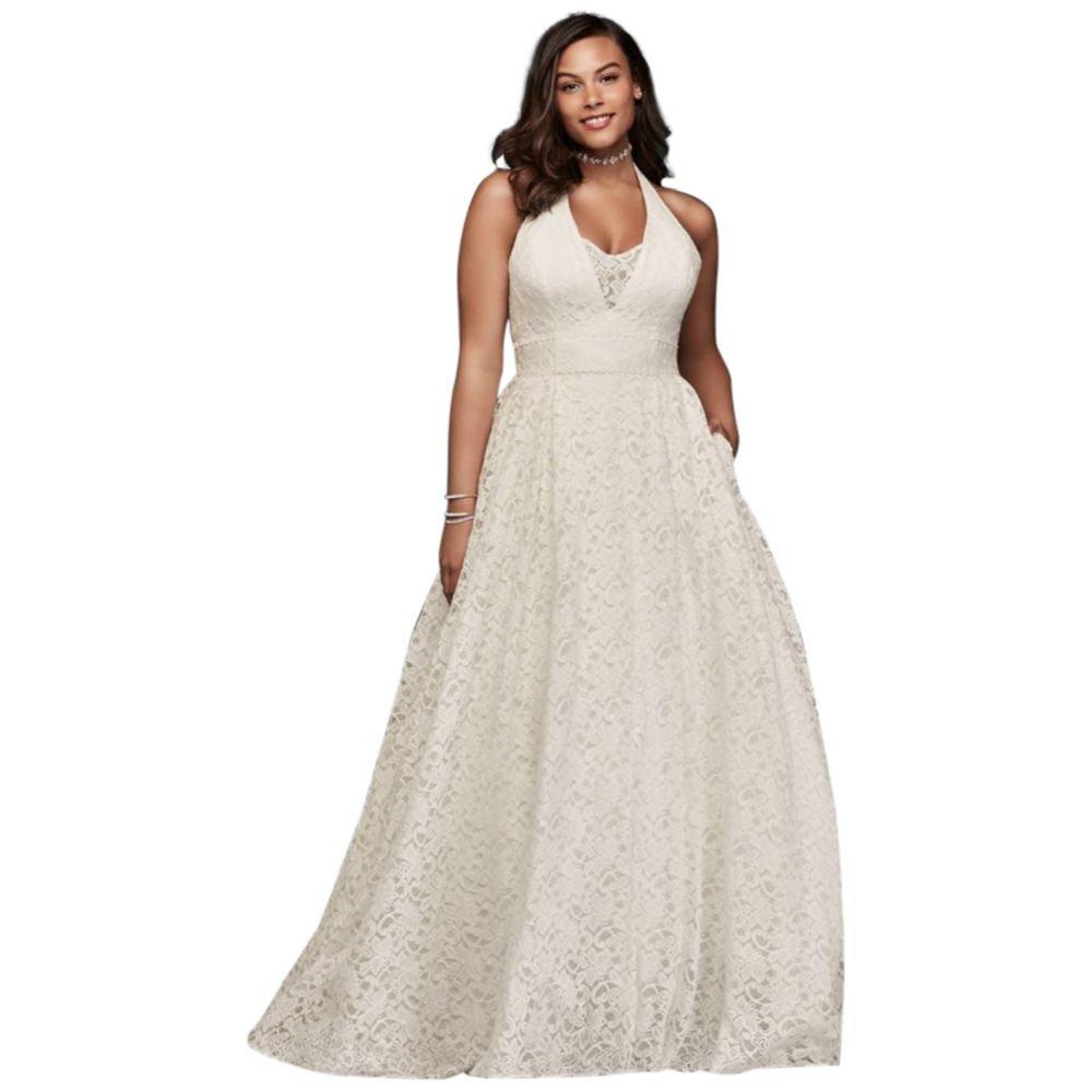 David's Bridal Plunging Lace Halter Plus Size Wedding Dress Style 9WG3844, Ivory, 16W