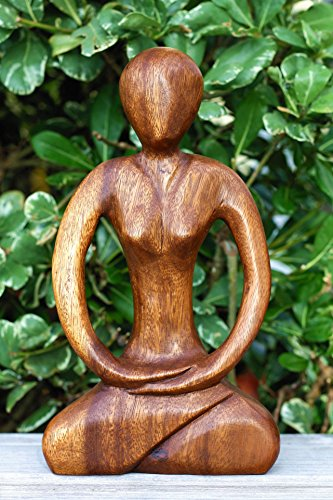 "G6 Collection 12"" Wooden Handmade Abstract Sculpture Yoga Meditation Statue Tranquility Art Decorative Home Decor Handcrafted Figurine Accent Decoration Artwork Hand Carved Abstract Yoga"