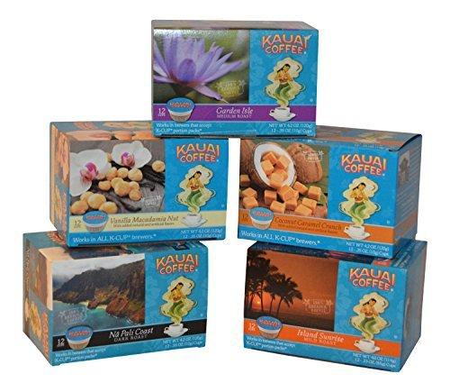 Kauai Coffee Variety Pack of 5, 12 Single Serve Cups 4.2 Oz (5 Pack) 1- Garden Isle, 1 - Island Sunrise, 1 Napali Coast, 1 Coconut Caramel and 1 Vanilla Macadamia.