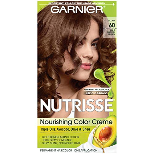 Garnier Nutrisse Nourishing Hair Color Creme, 60 Light Natural Brown (Acorn), 3 Count  (Packaging May Vary) (Garnier Naturals)