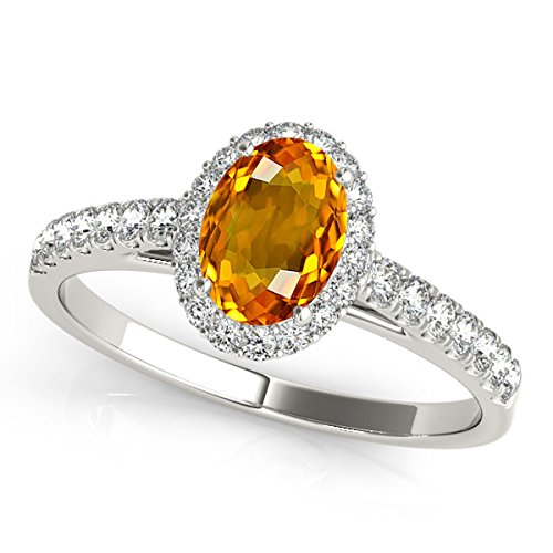 Oval Citrine Ring Shaped (1.75 Ct. Ttw Diamond And Oval Shaped Citrine Ring in 10K White Gold)