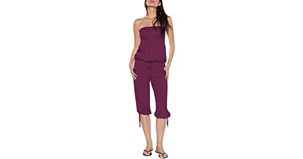 d82ecc6b184 VamJump Women Strapless Tie Waist Capri Beach One Piece Rompers Jumsuit  Outfit