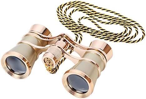 Aomekie AO3004 3X25 Theater Opera Glasses Horse Racing Binoculars (Gold, with Chain)