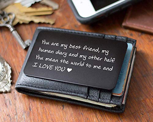 Handmade Best Friend Gift, Engraved Wallet Note, Metal Wallet Card Insert, Cute Gift for Him, Perfect Gift for Anniversary, Deployments, Weddings, Boyfriends, Husband