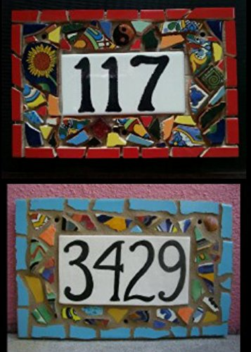 Ceramic Address Plaque (Tile Mosaic House Number Plaque, Address or Name Sign, Custom Hand Made)