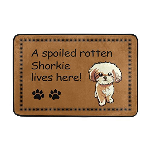 "Acove Entrance Doormat ""A Spoiled Rotten Shorkie Lives Here"