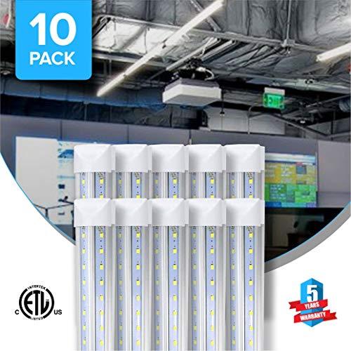 T8 8 Foot V Shape LED Tube 60w 7200 Lumens Integrated 6500k Clear 10pcs