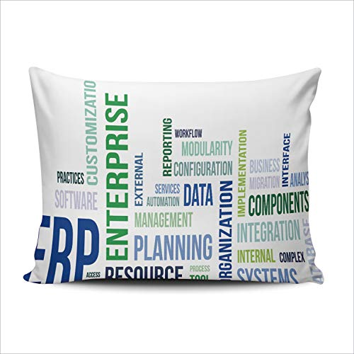MUKPU Pillow Covers A Word Cloud of Enterprise Resource Planning Throw Pillow Case Hidden Zipper Decorative Custom Pillow Cases One Side Printed 16x24 Inches