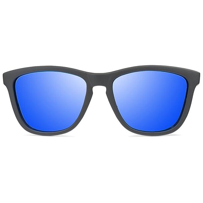 Vooglers® Blue Lunettes De Soleil Polarisées Sunglasses Unique Volcano Sky Polarized Uv400 Cadre Lumineux Noir Mat wLNsgJ
