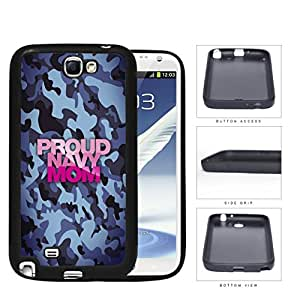 Proud Navy MOM Blue Camo Pattern with Pink Letters Samsung Galaxy Note II 2 N7100 Rubber Silicone TPU Cell Phone Case