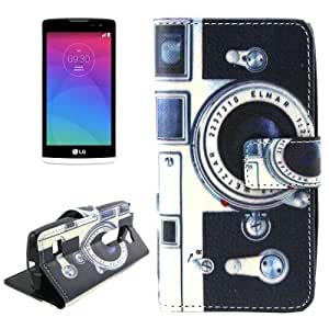 Retro Camera Pattern Horizontal Flip Leather Case with Holder & Card Slot & Wallet for LG Leon / C40 / H340N
