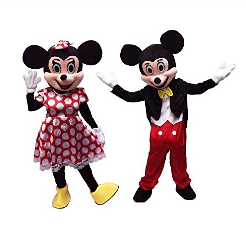 Cartoon Character Mickey and Minnie Mouse Couple Mascot Adult Costume -