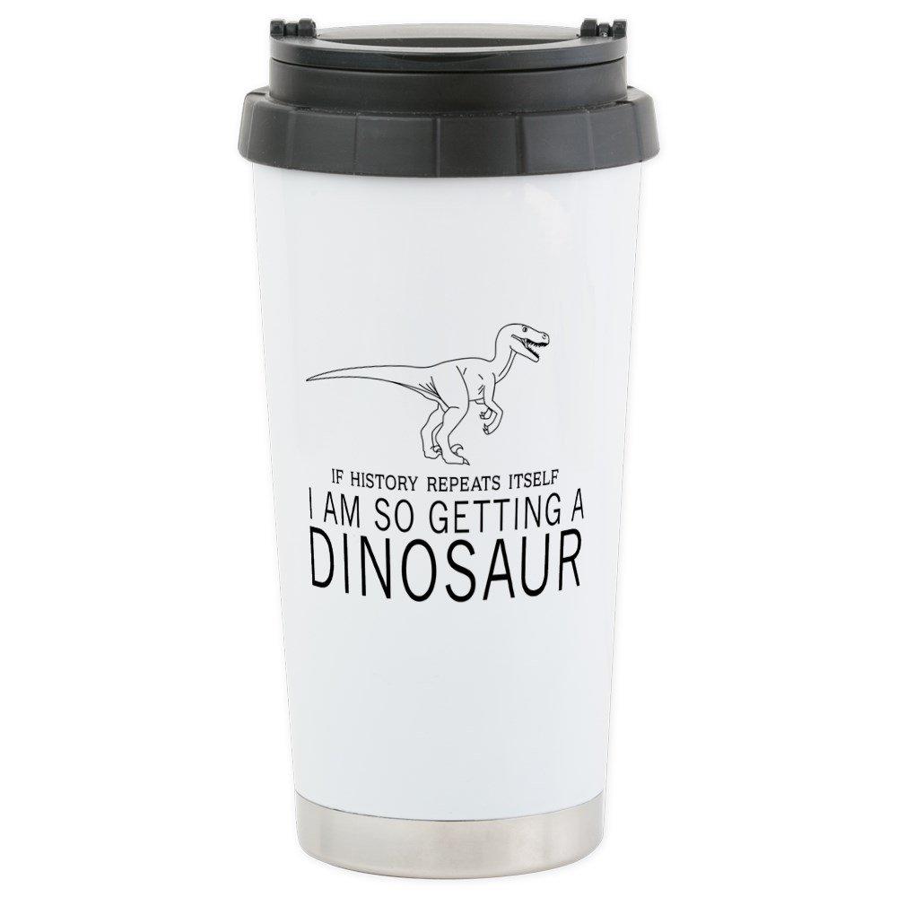 CafePress - History Repeats Dinosaur Travel Mug - Stainless Steel Travel Mug, Insulated 16 oz. Coffee Tumbler