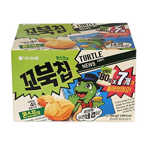 Orion Korean Snack TURTLE CHIPS 꼬북칩 80g (Pack of 7) (Corn Chips Korean)
