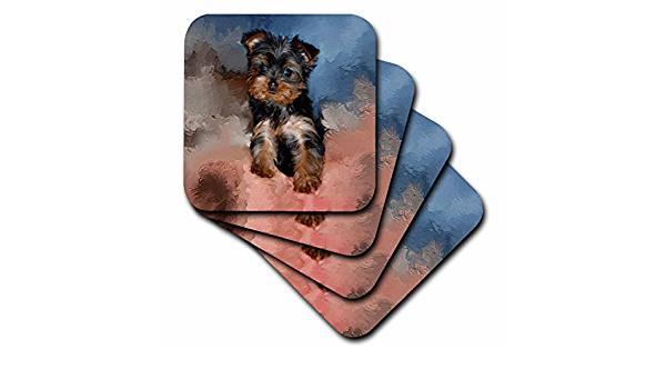 3drose Cst 3868 3 Toy Yorkie Puppy Ceramic Tile Coasters Set Of 4 Home Kitchen