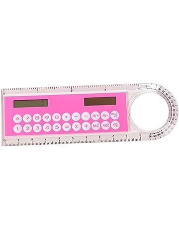 NUOBESTY 10cm Regla Mini calculadora digital 2 en 1 Escuela de Niños Regalos de papelería de