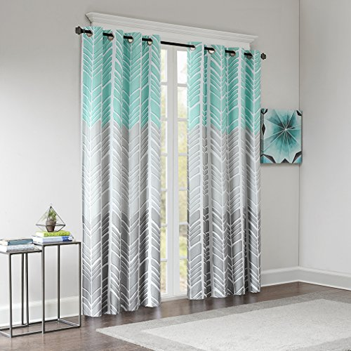 51s1Y57B3BL - Intelligent Design Blackout Curtains For Bedroom, Casual Aqua Grey Window Curtains For Living Room Family Room, Geometric Adel Grommet Room Darkening Black Out Window Curtain, 50X84, 1-Panel Pack