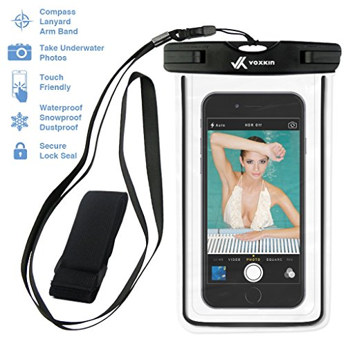 ⚡ [ PREMIUM QUALITY ] Universal Waterproof Phone Holder with ARM BAND & LANYARD - Best Grade Water Proof, Dustproof, Snowproof & Shockproof Pouch Bag Case for Apple iPhone, Android (Apple Ipod Lanyard)