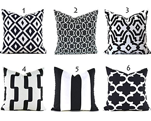 Outdoor Decorative Throw Pillow Cover Any Size OD Black and White